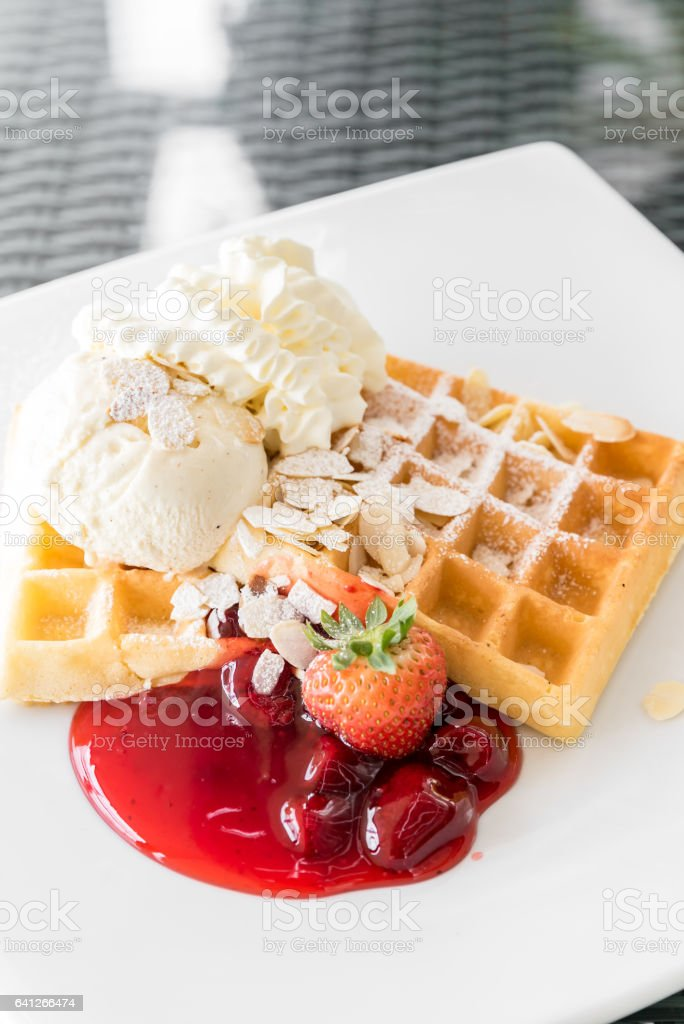 Strawberry Waffle stock photo