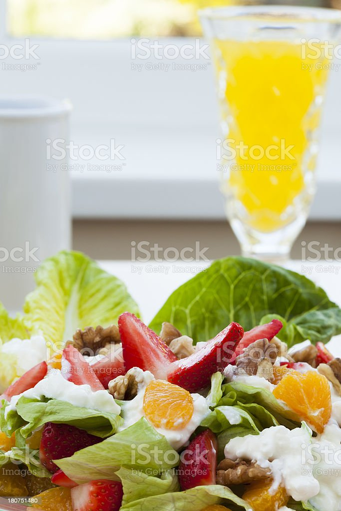 Strawberry Walnut Salad Topped With Mandarin Oranges And Cottage Cheese royalty-free stock photo
