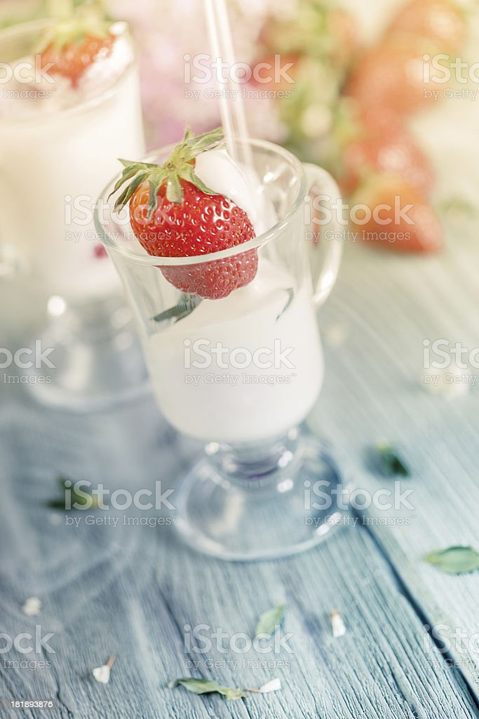 Strawberry with milk royalty-free stock photo
