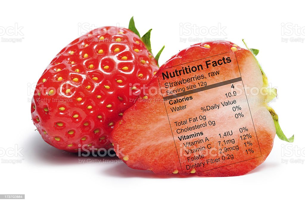 Strawberry with nutriton facts royalty-free stock photo
