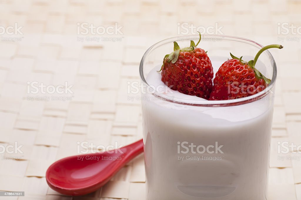 strawberry yoghurt stock photo