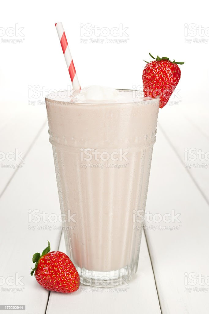 Strawberry Yogurt Smoothie or Milkshake with Berries stock photo