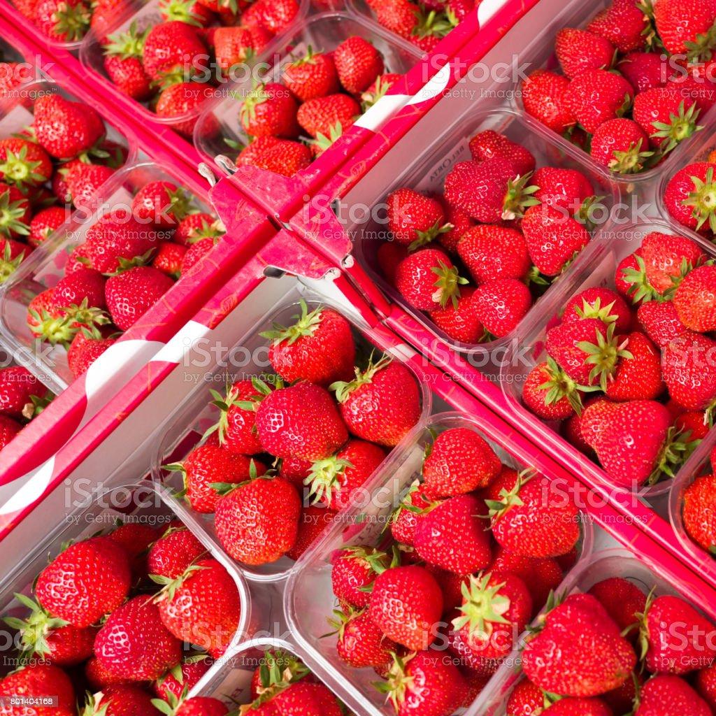 Strawberrys on a market. stock photo