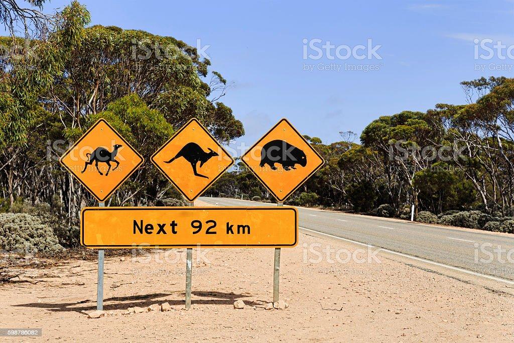 SA Stray animals sign 92 km stock photo