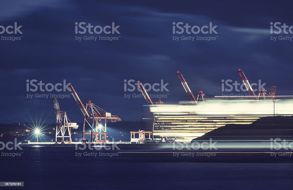 Streaking Past the Port royalty-free stock photo