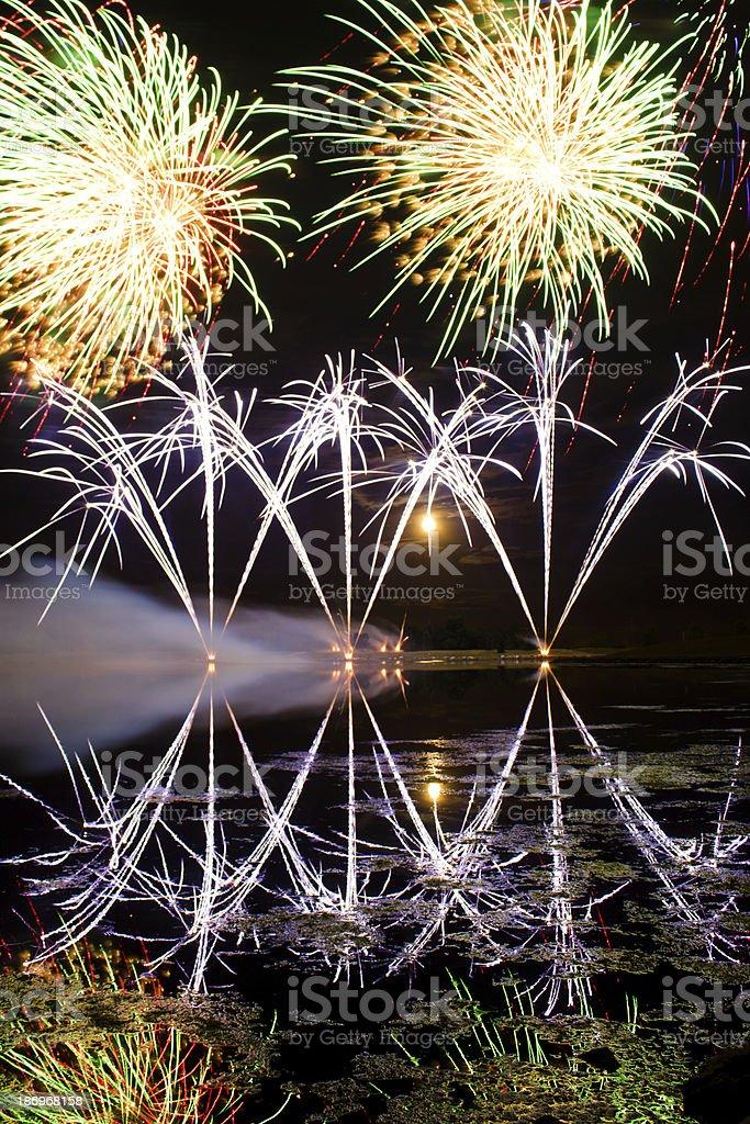 Streaks of Blue Fireworks royalty-free stock photo