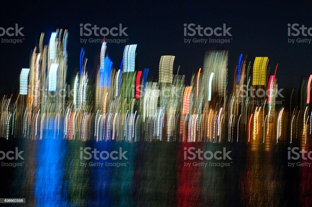 Streaks of lights of Sydney skyline, Sydney, Australia stock photo