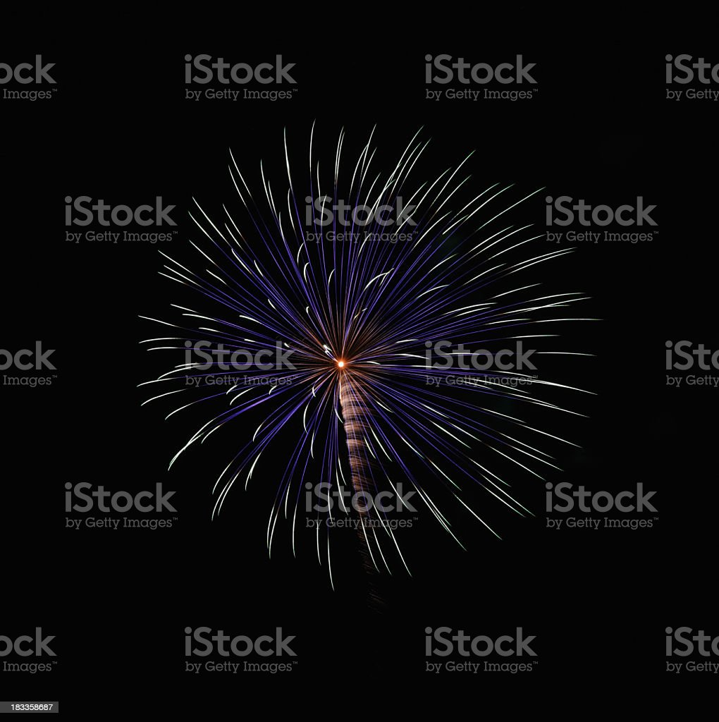 Streaky Blue and White Circular Fireworks Pattern royalty-free stock photo