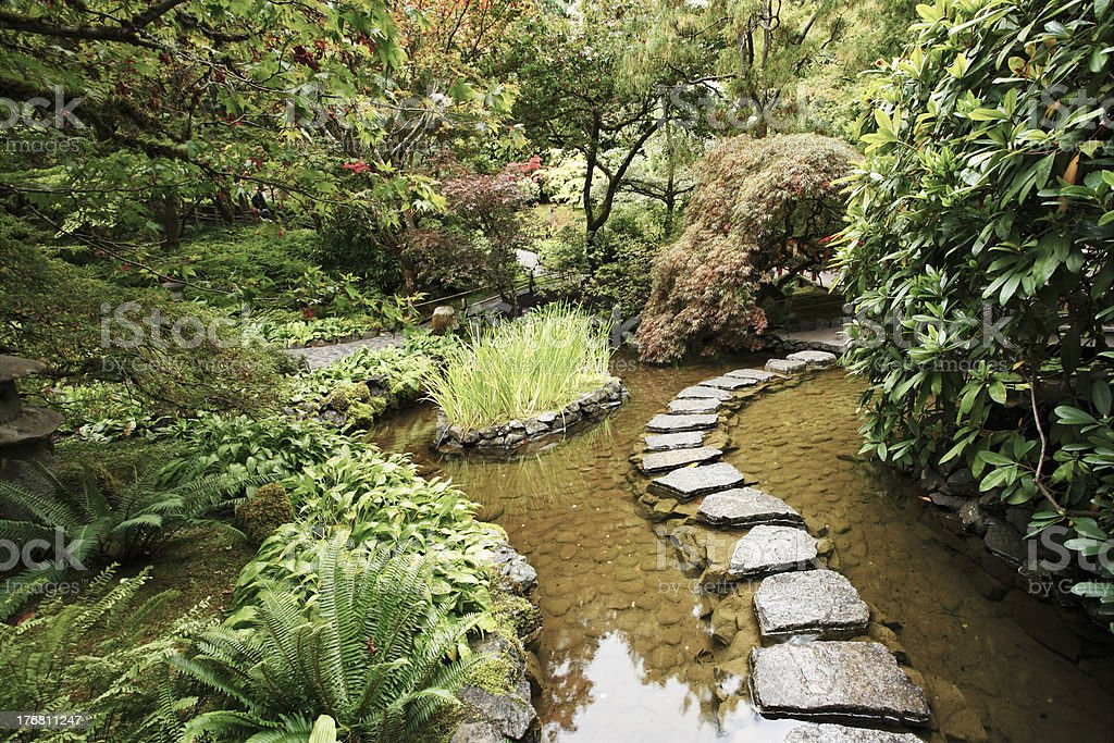 Stream and a decorative path from stones royalty-free stock photo