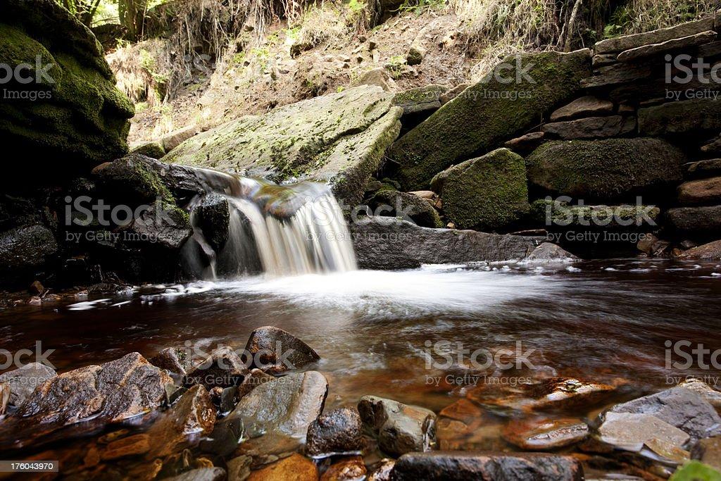 Stream and small waterfall stock photo