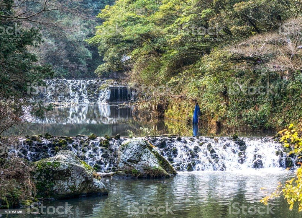 stream before cheonjiyeon waterfall stock photo