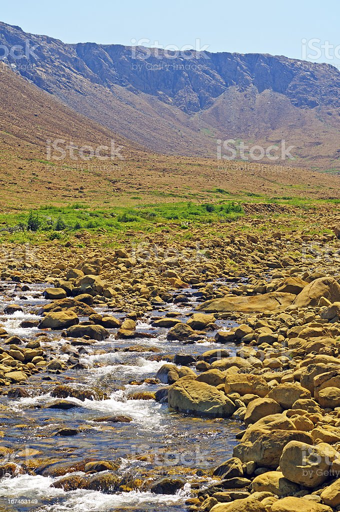Stream emptying a Desrt Valley royalty-free stock photo