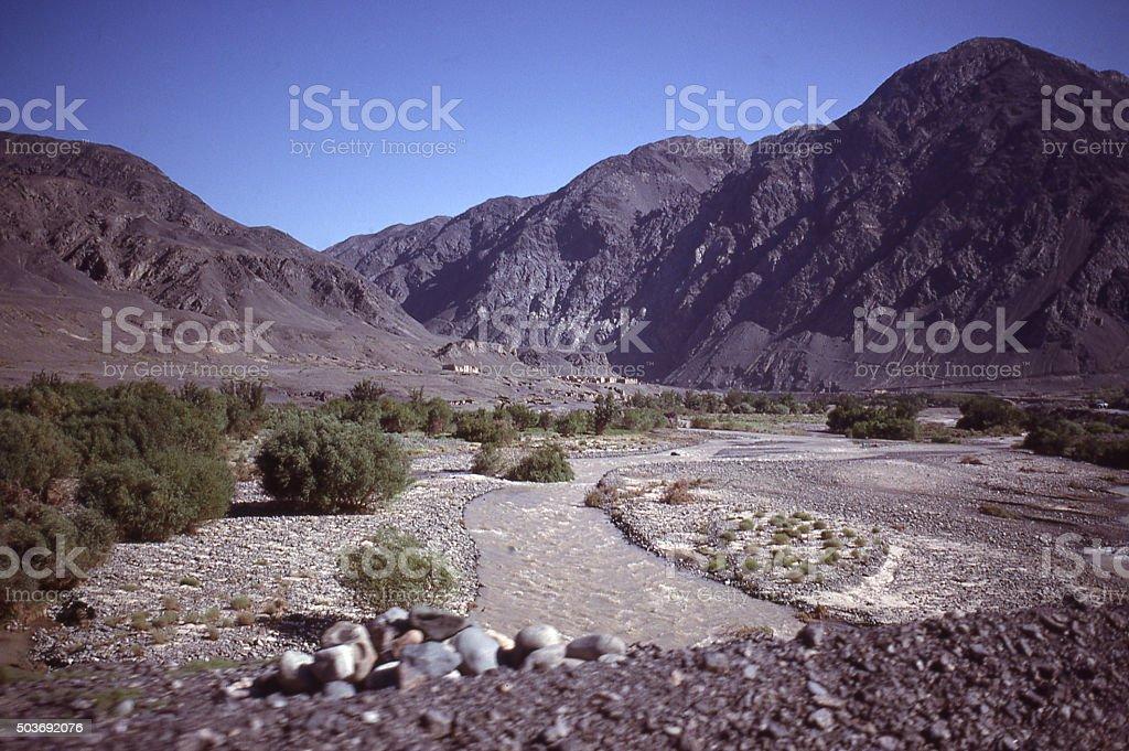 Stream erosion canyons desert landscape Turfan Xinjiang China East Africa stock photo