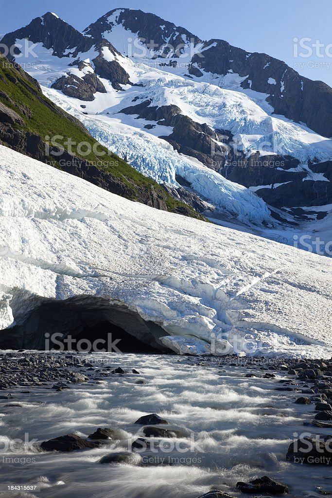 Stream flowing from Byron Glacier, in Portage Valley Alaska stock photo