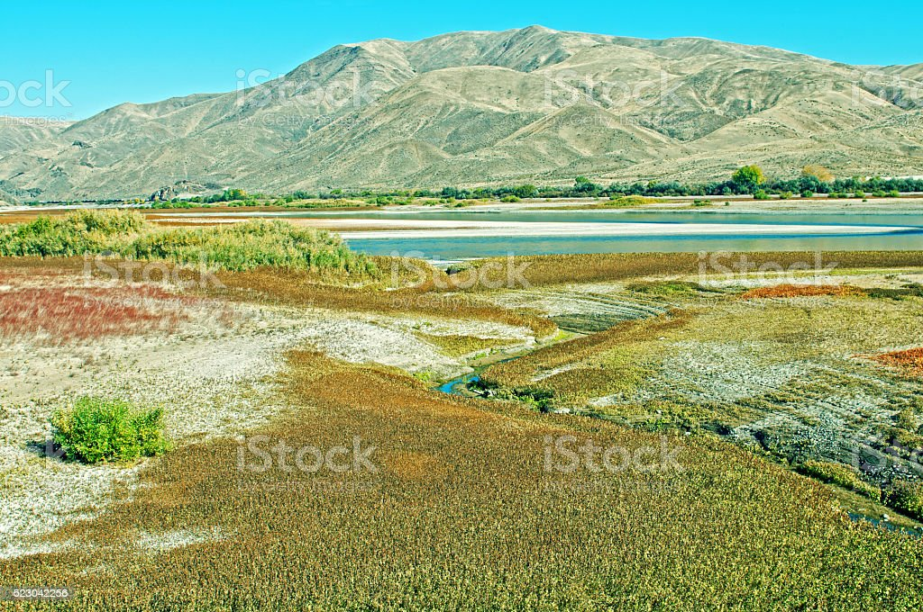 Stream flows into Snake River in eastern Oregon stock photo