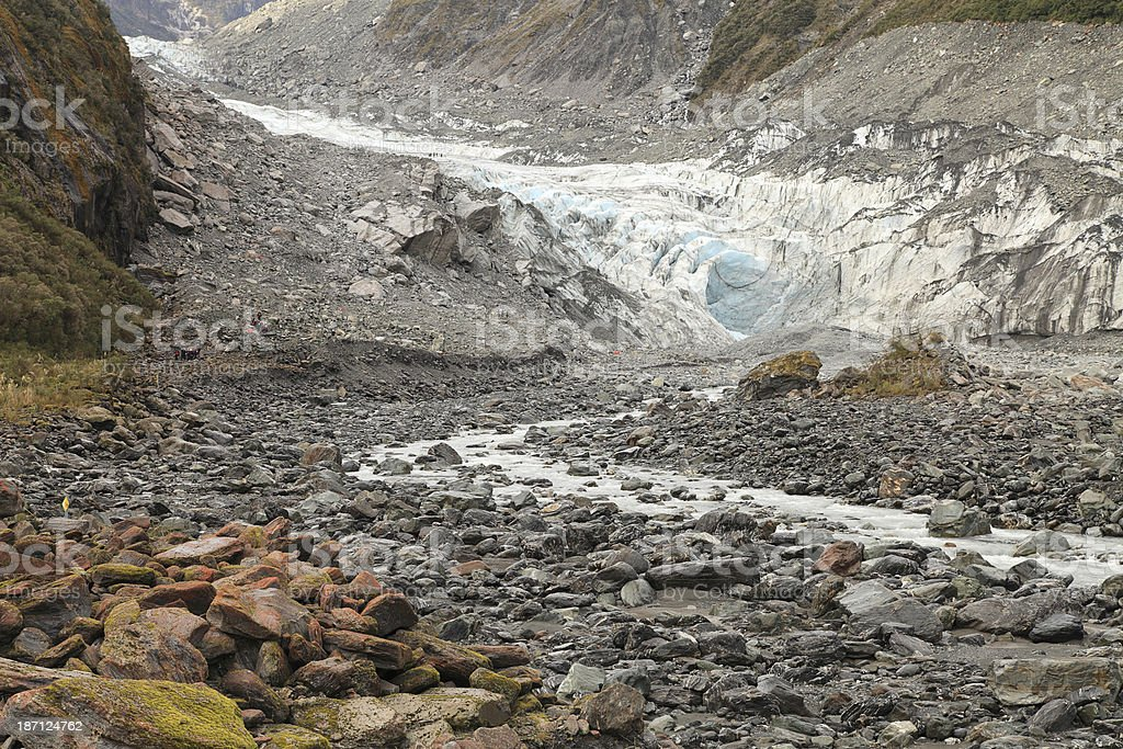 stream from the melting of fox glacier stock photo
