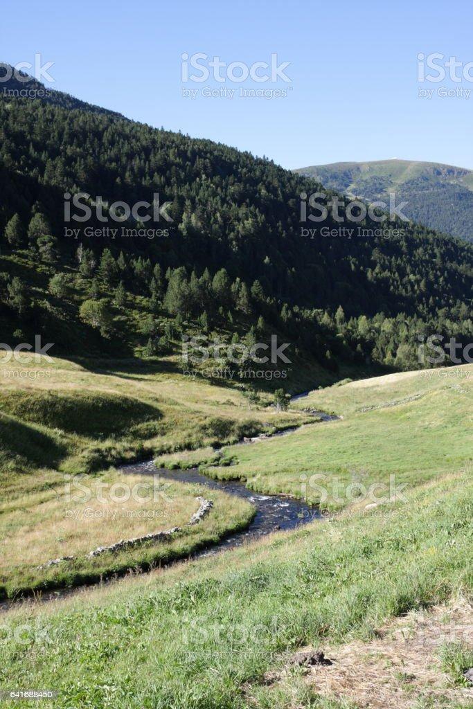Stream in Andorra, Pyrenees stock photo