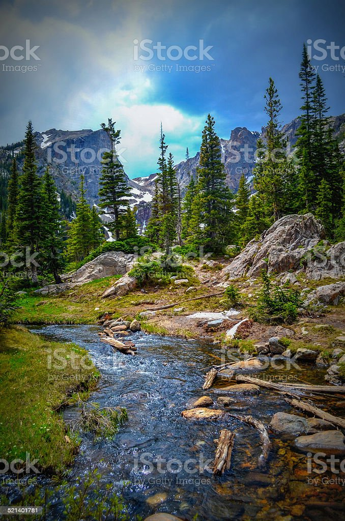 Stream in Rocky mountains stock photo