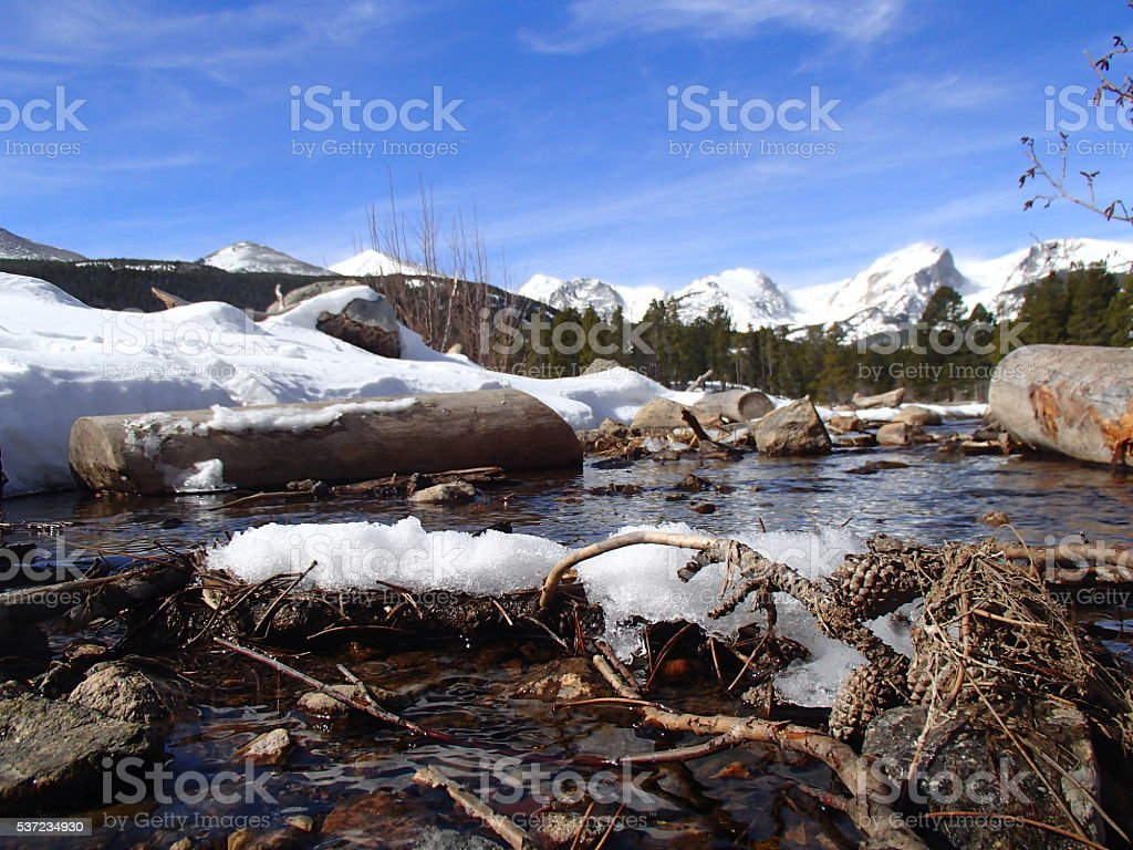Stream in the Rocky Mountains stock photo