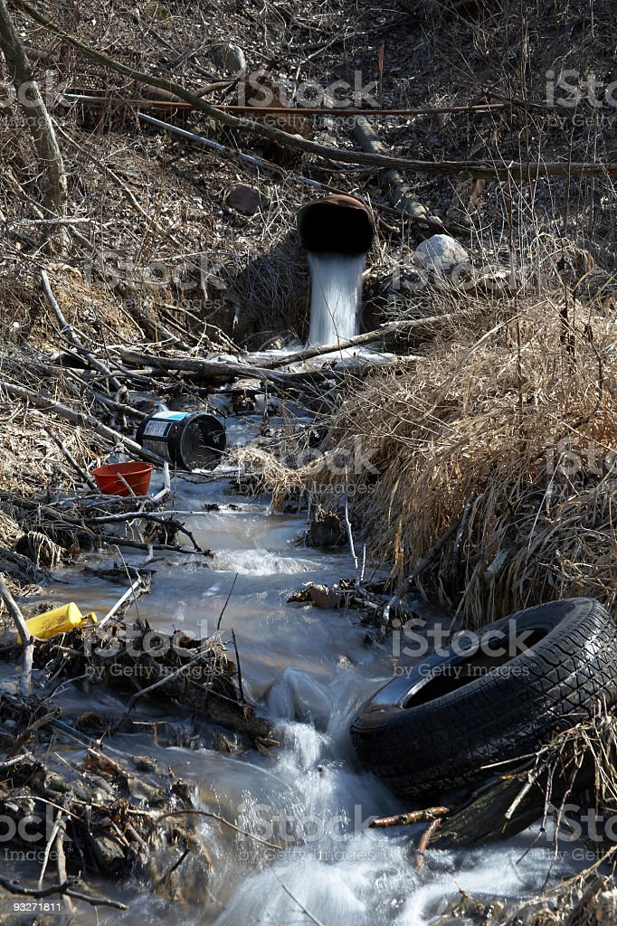 Stream in the woods covered with human waste stock photo