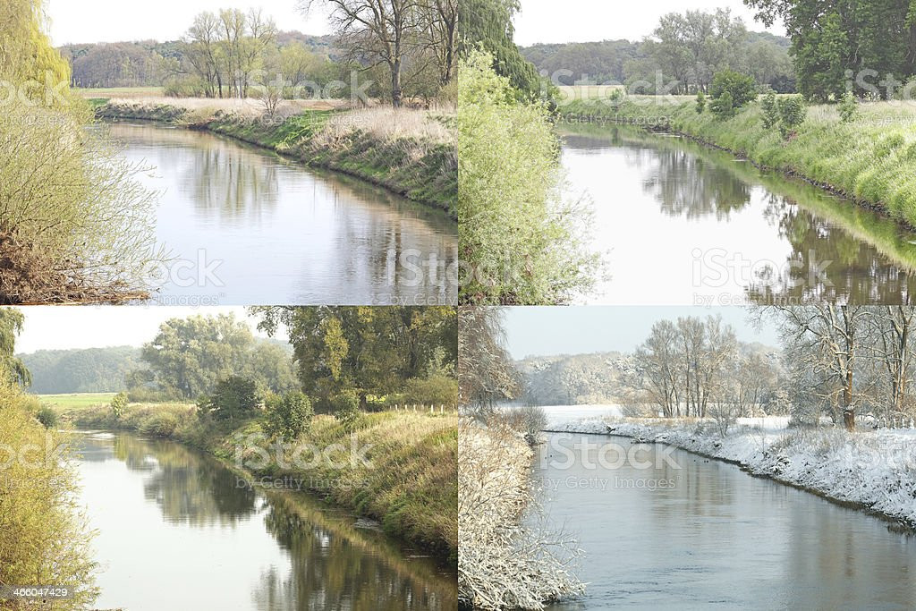 Stream Landscape Four Seasons royalty-free stock photo