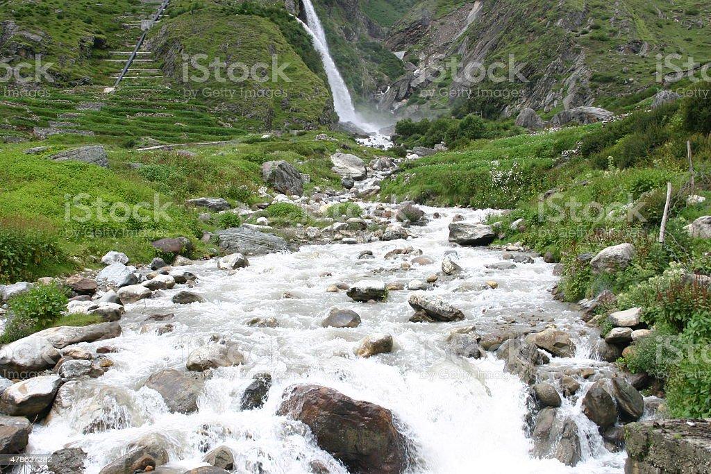 Stream  near Badrinath, Uttarkhand,India stock photo