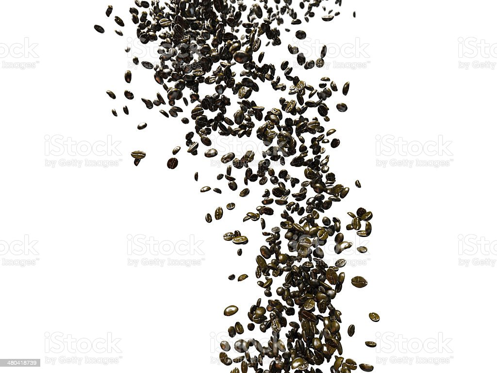 Stream of falling coffee beans stock photo