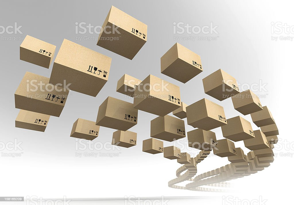 Stream of flying cardboard boxes. Fast accuracy delivery metaphor stock photo