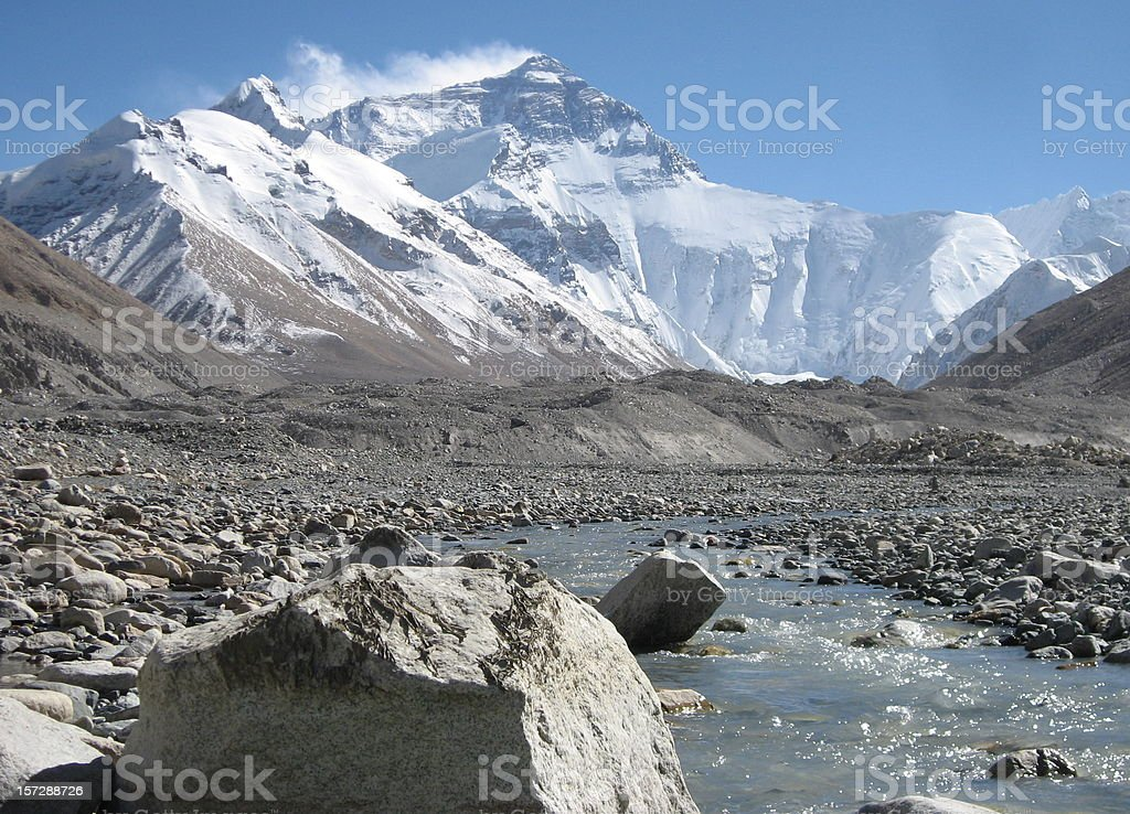 Stream of melting snow from everest at base camp Tibet royalty-free stock photo