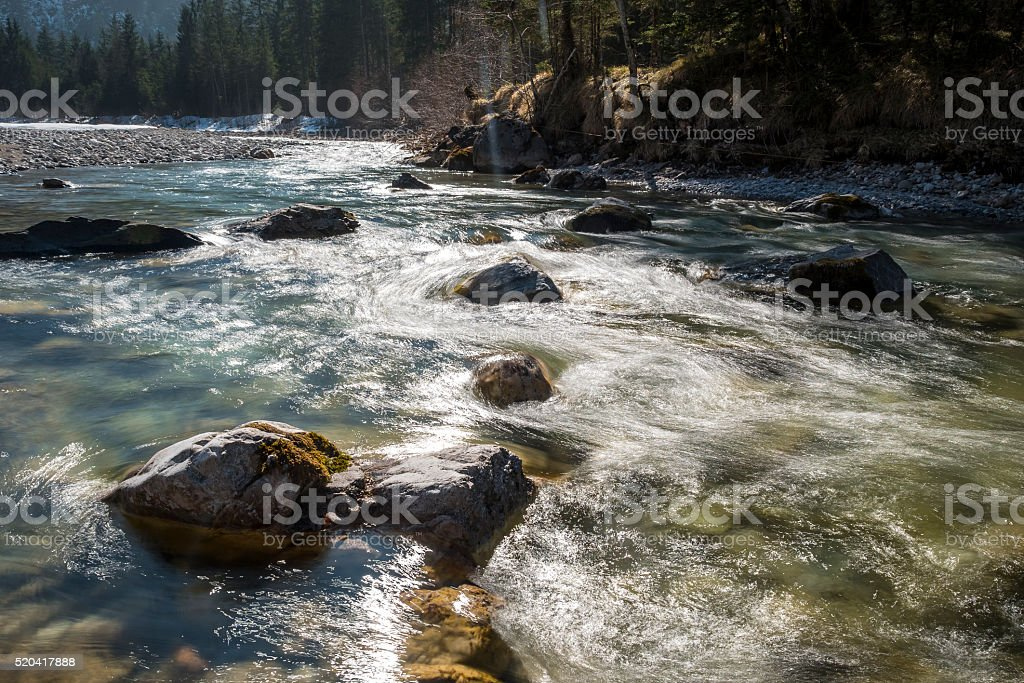 stream Ostrach in backlite stock photo