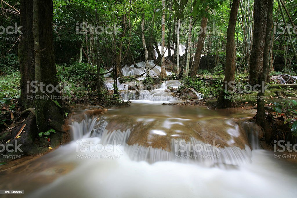 Stream Rainforest Waterfall in Thailand royalty-free stock photo