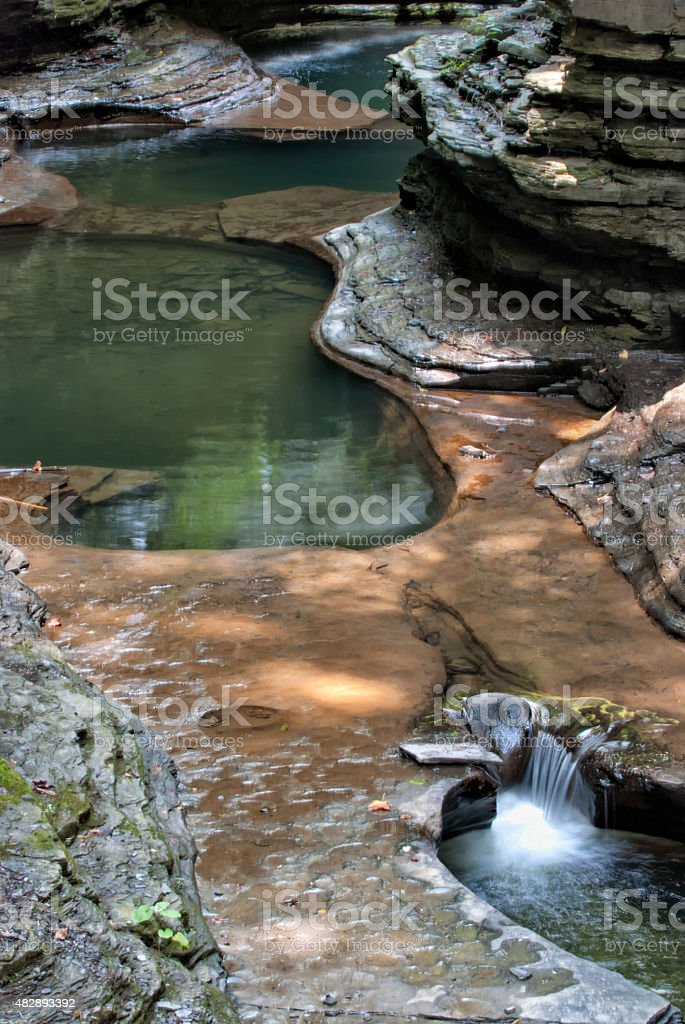 Stream with Shaded Pools and Flowing Water, Nature Background stock photo