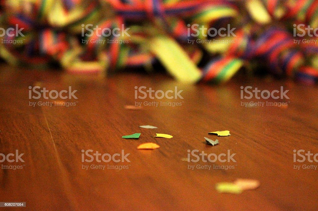 Streamers and confetti on the floor stock photo