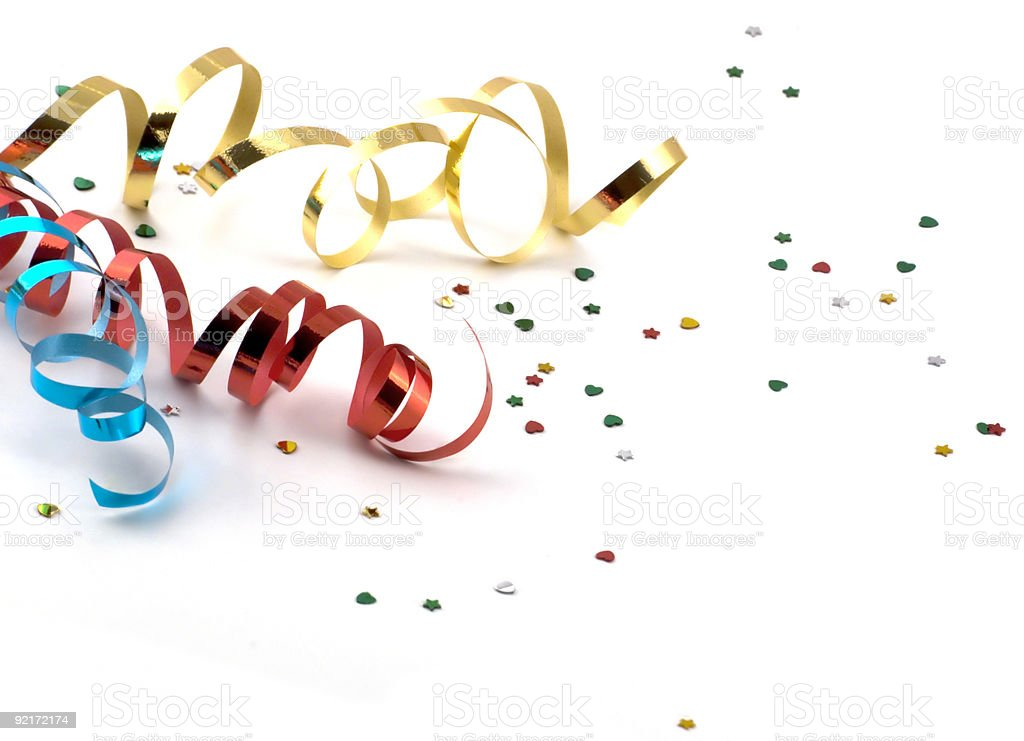 streamers over white background stock photo