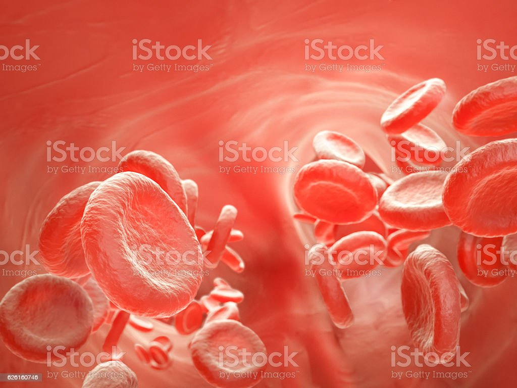 Streaming blood cells stock photo