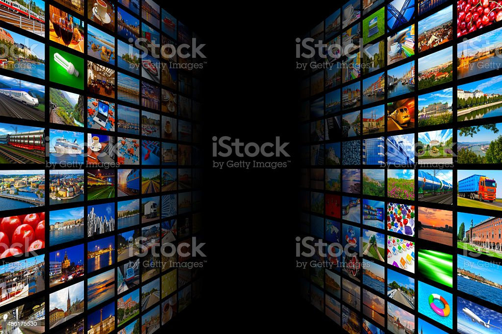 Streaming media technology and multimedia concept stock photo