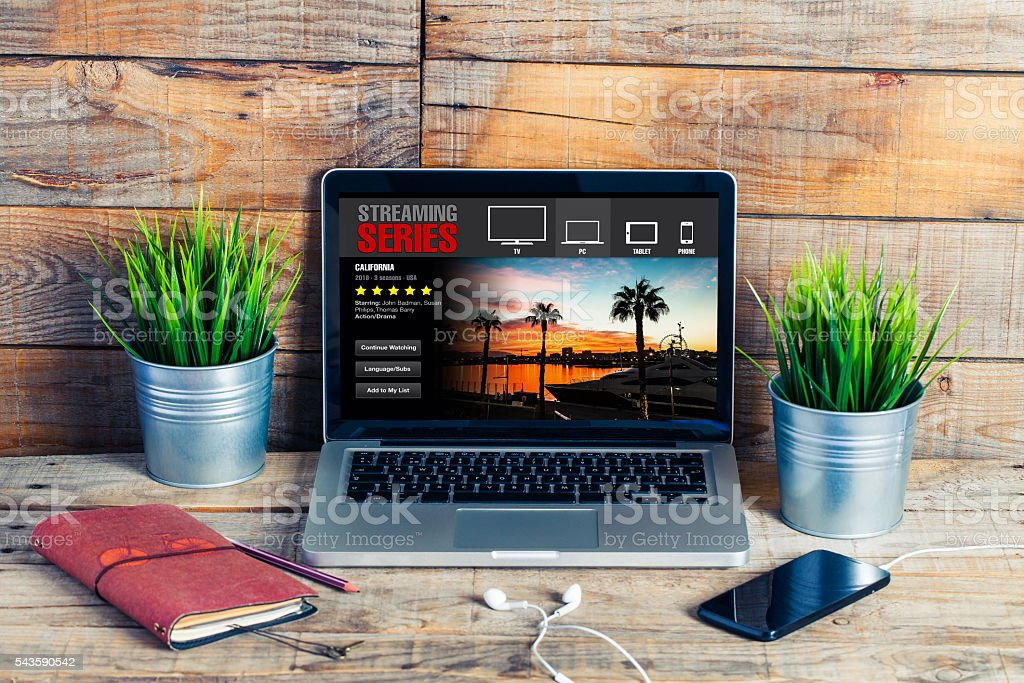 Streaming tv series on the internet. stock photo