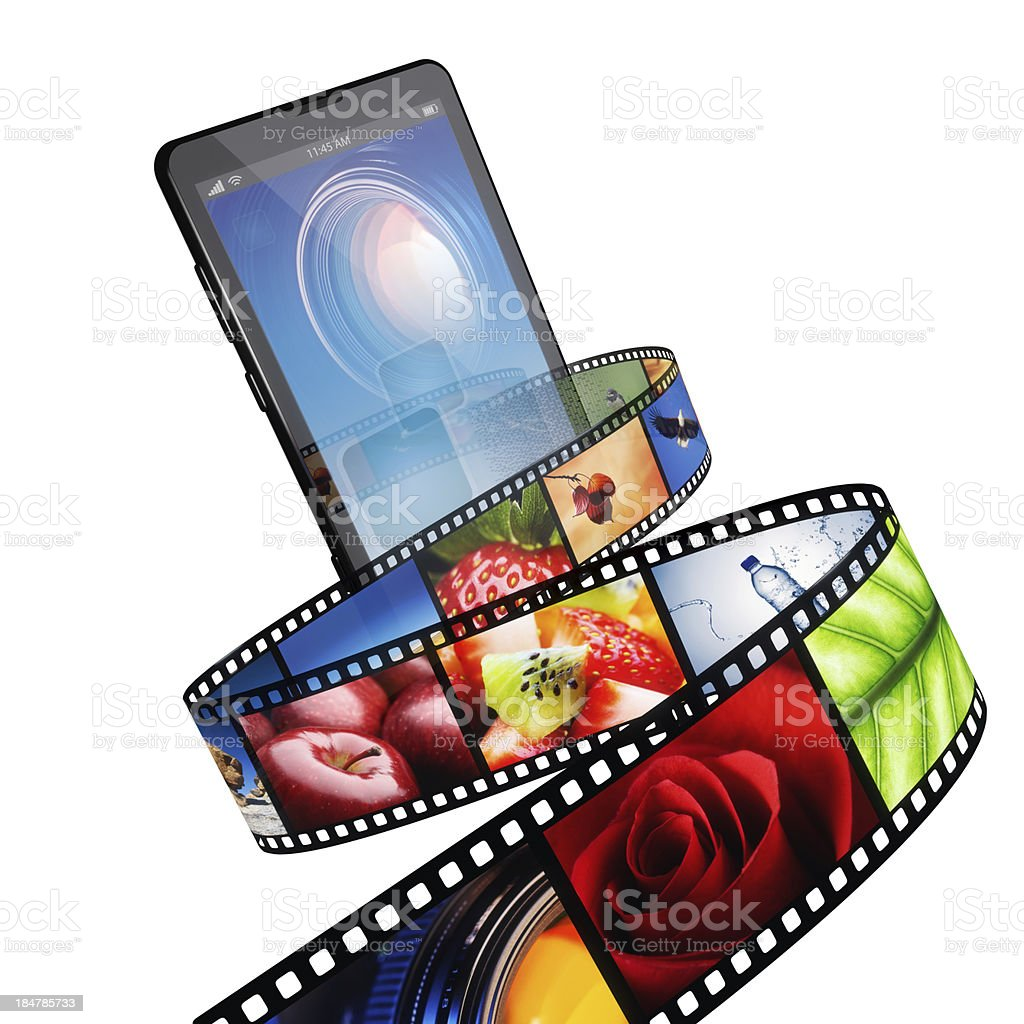 Streaming video with modern mobile phone stock photo