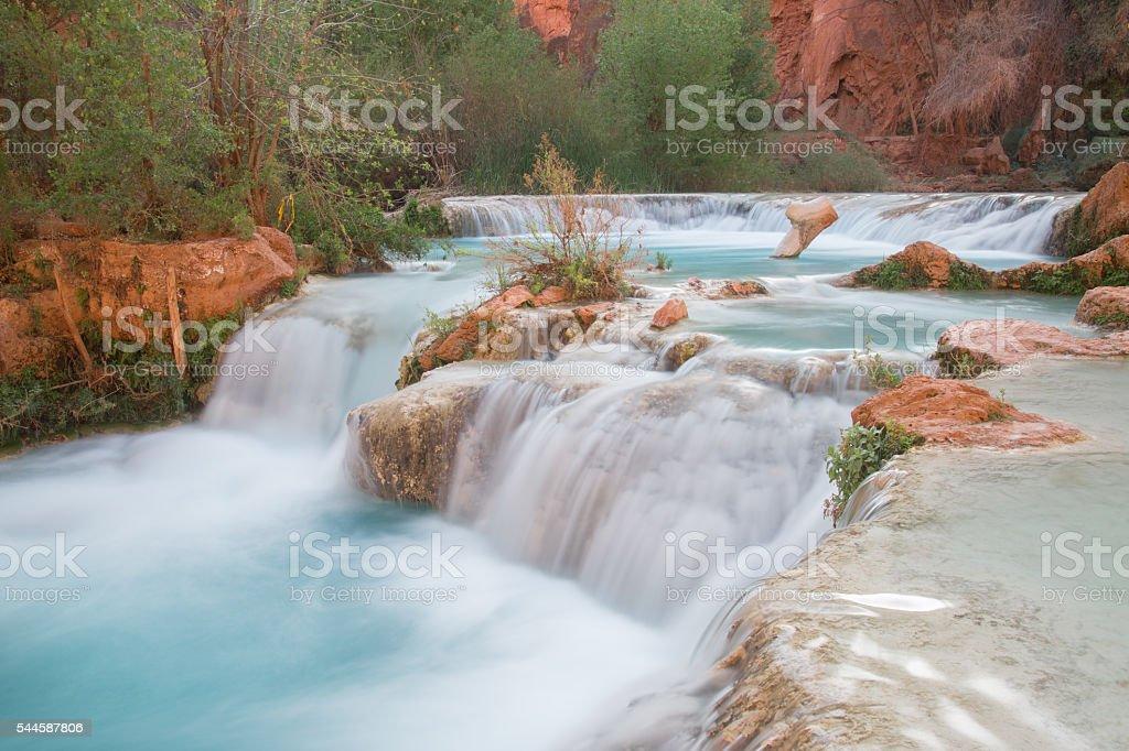Streaming water at the bottom of Havasu Falls stock photo
