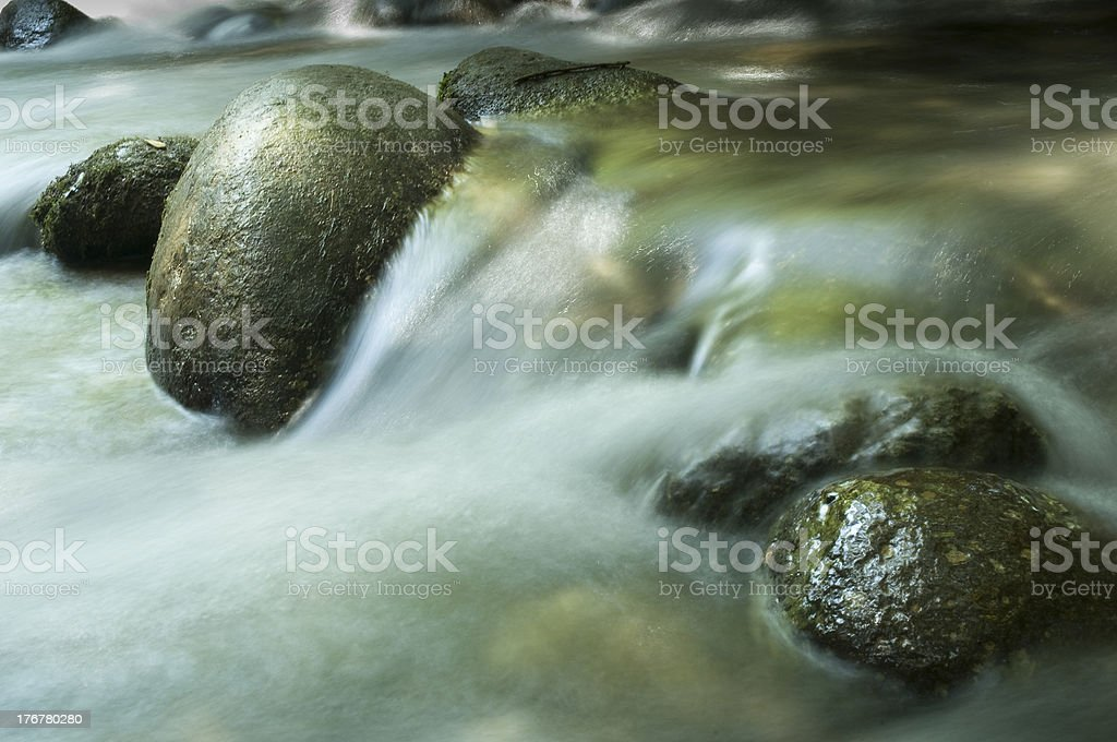 streaming water in the banias river royalty-free stock photo