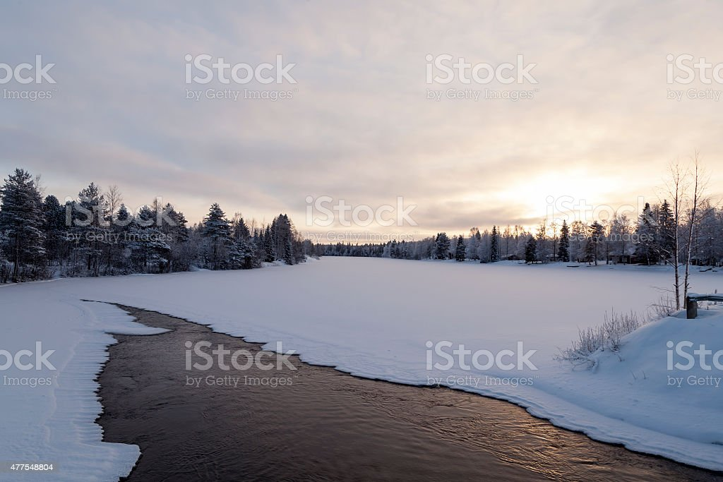 Streaming water in the winter royalty-free stock photo