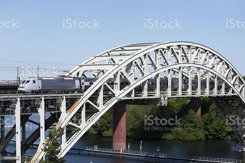 Streamlined intercity express train on bridge royalty-free stock photo