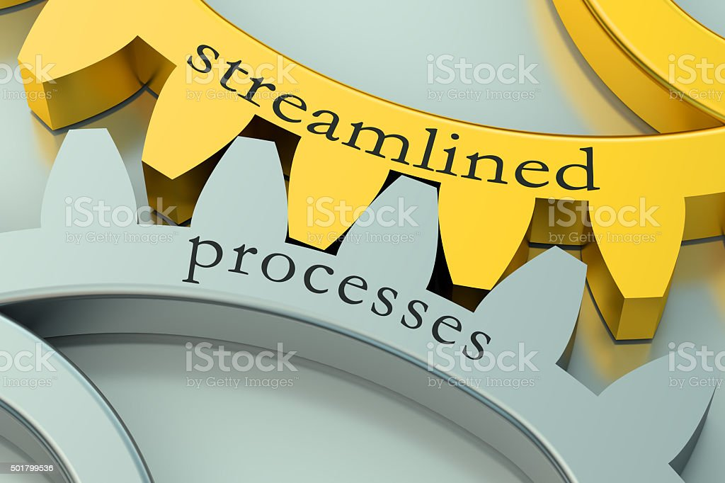 streamlined processes concept on the gearwheels stock photo