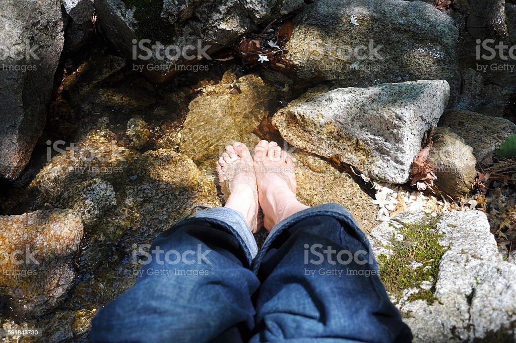 stream's cool water stock photo
