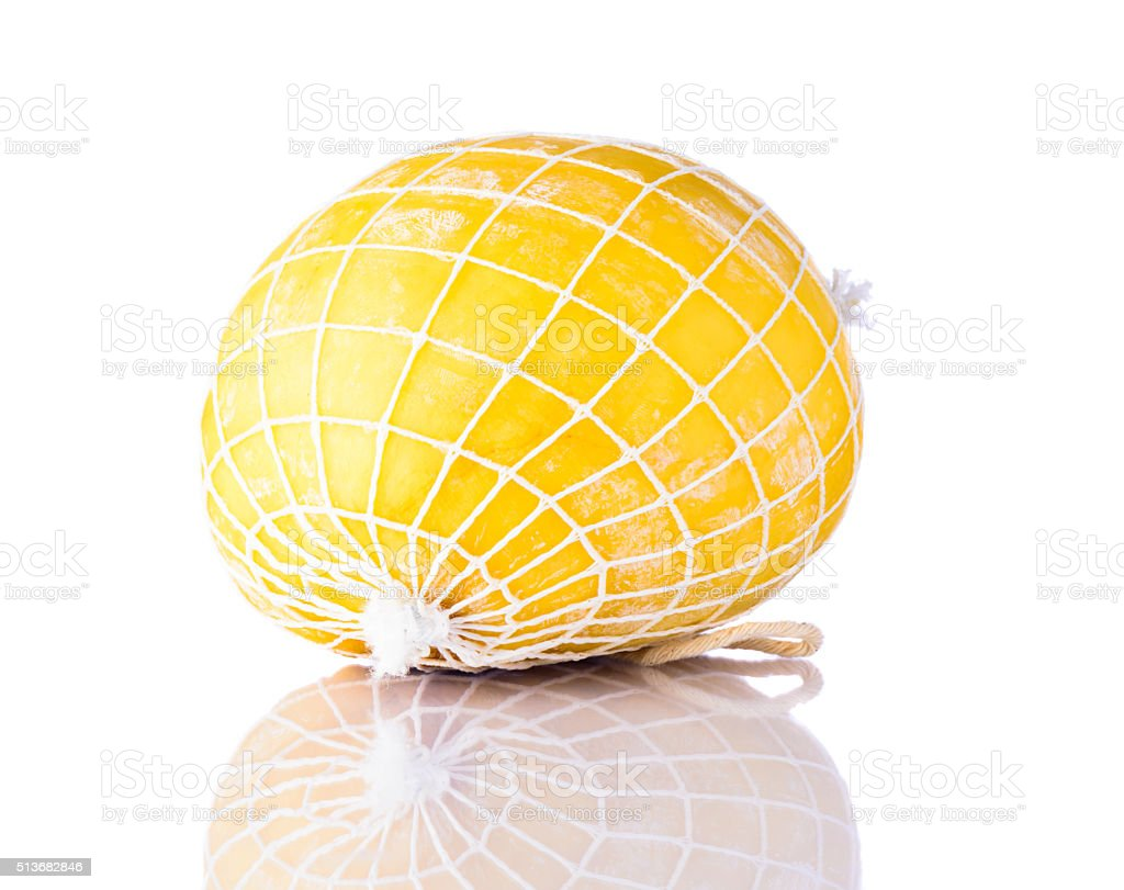 Streched Curd Cheese on White Background stock photo