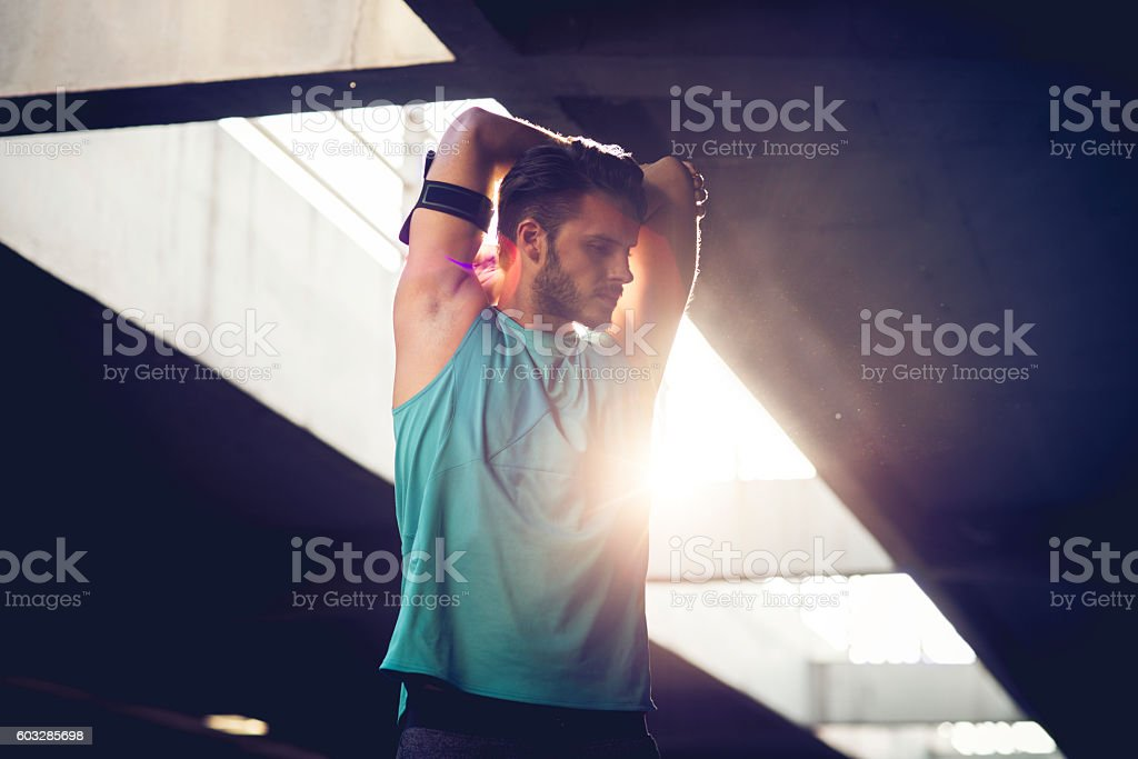 streching before workout stock photo