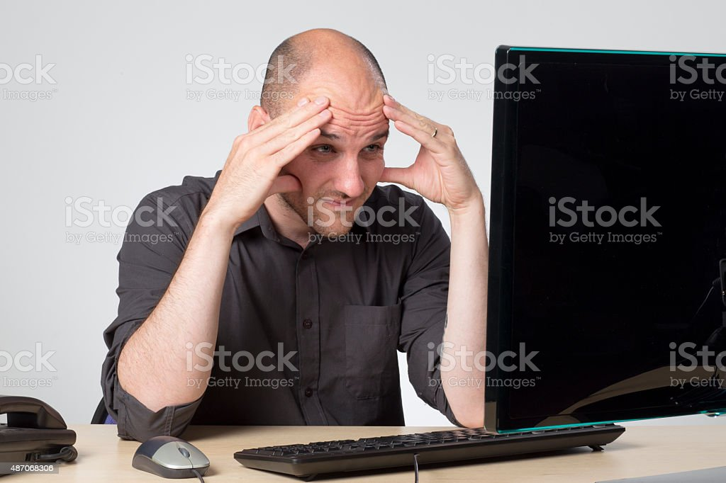 Streesed and getting a migraine stock photo