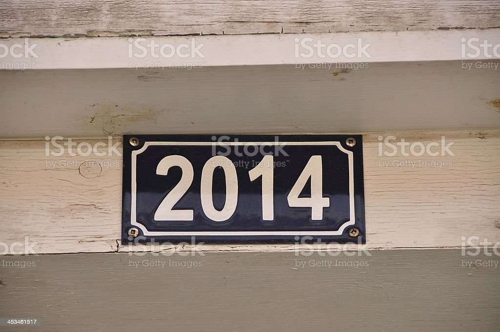 Street address white number new year 2014 future stock photo