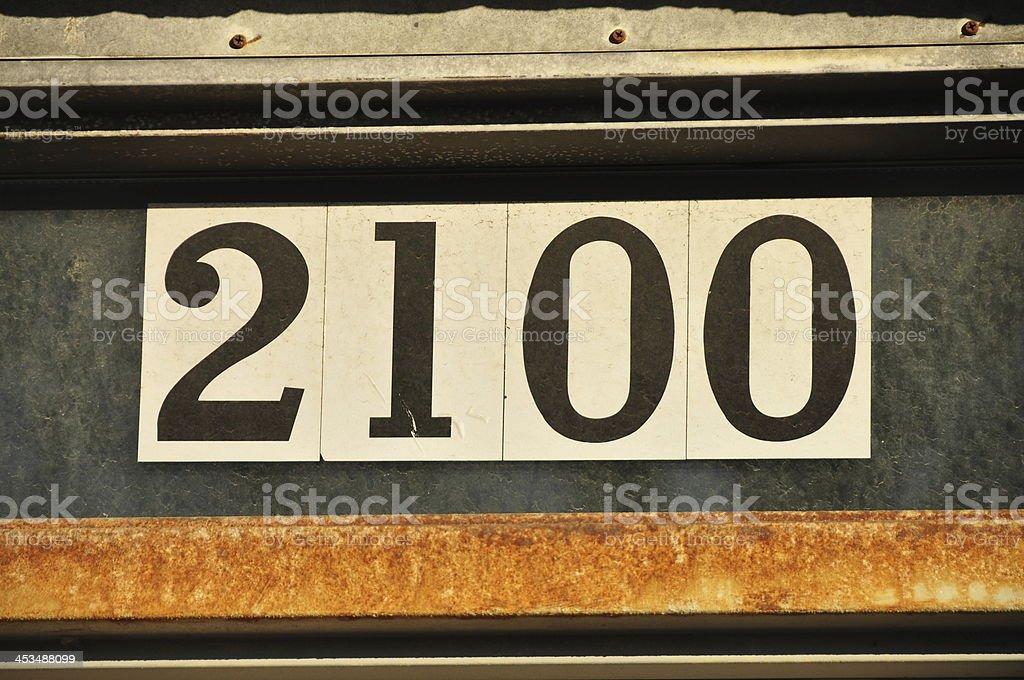 Street address white number year 2100 future stock photo