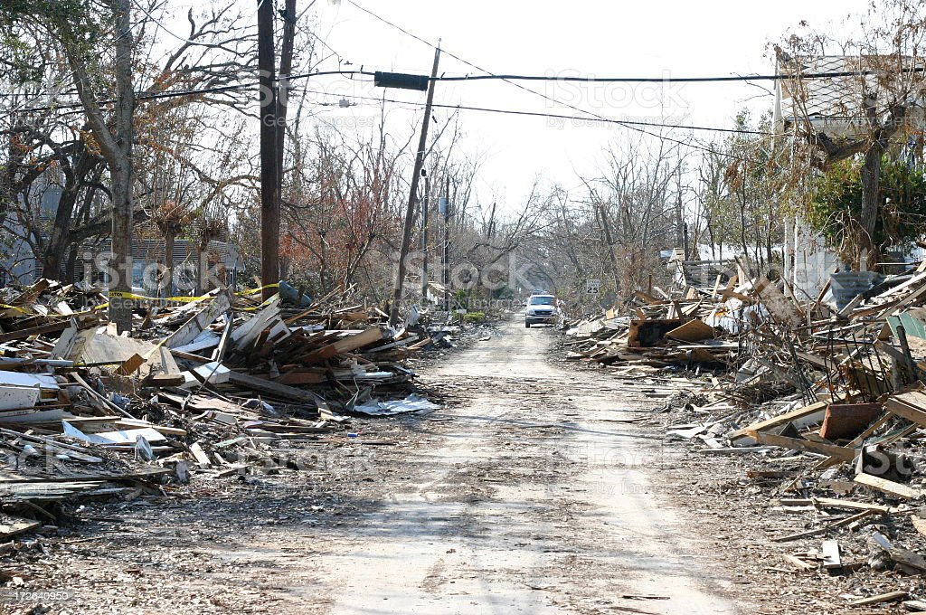 Street After Hurricane Katrina stock photo